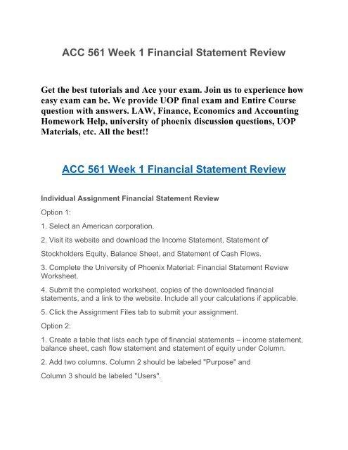 ACC 561 Week 1 Financial Statement Review UOP HomeWork Tutorial