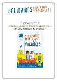 Campagne – Janvier 2013 - La Jeunesse au Plein Air