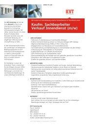 Kaufm. Sachbearbeiter Verkauf Innendienst (m/w) - kvt-fastening