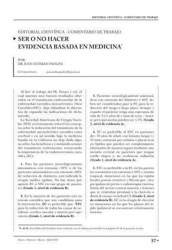 ser o no hacer evidencia basada en medicina - caccv.org.ar