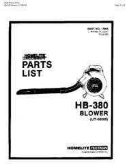 HB 380 Blower UT-08006 Page 1 of 8 - Barrett Small Engine