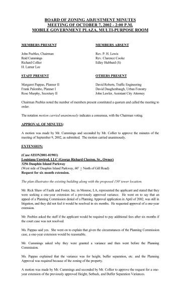 board of zoning adjustment minutes meeting of october 7, 2002 - 2 ...