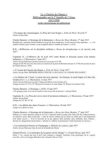 Bibliographie sur l'offensive du Chemin des Dames - CRID 14-18