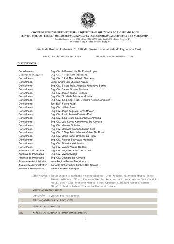 Súmula da Reunião Ordinária n° 1010, da Câmara ... - Crea-RS