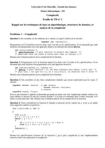 Complexité Feuille de TD n° 1 Rappel sur les techniques de ... - LSIS