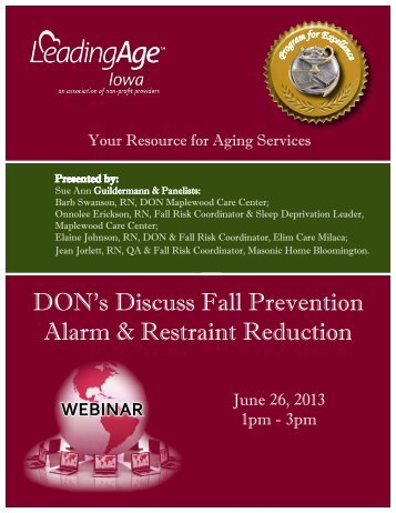 DON's Discuss Fall Prevention Alarm & Restraint Reduction - Iowa ...