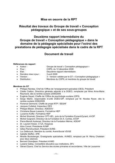 rapport du GT « Conception pédagogique - Canton de Vaud