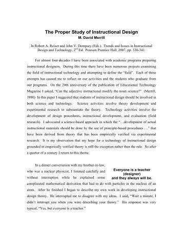The Proper Study of Instructional Design - David Merrill