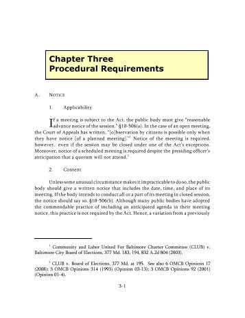 Chapter Three Procedural Requirements - Maryland Attorney General