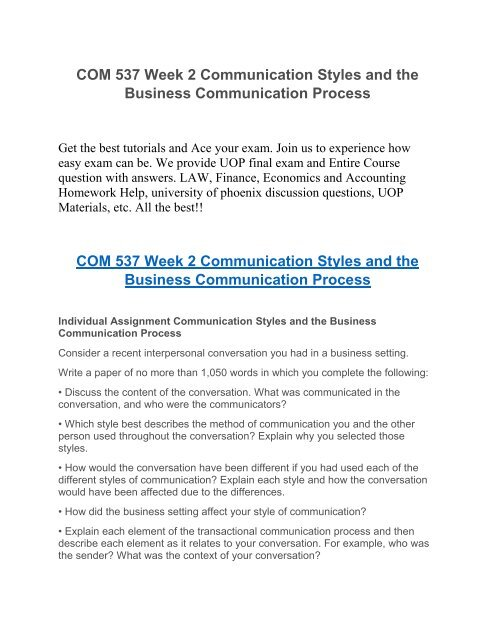 COM 537 Week 2 Communication Styles and the Business