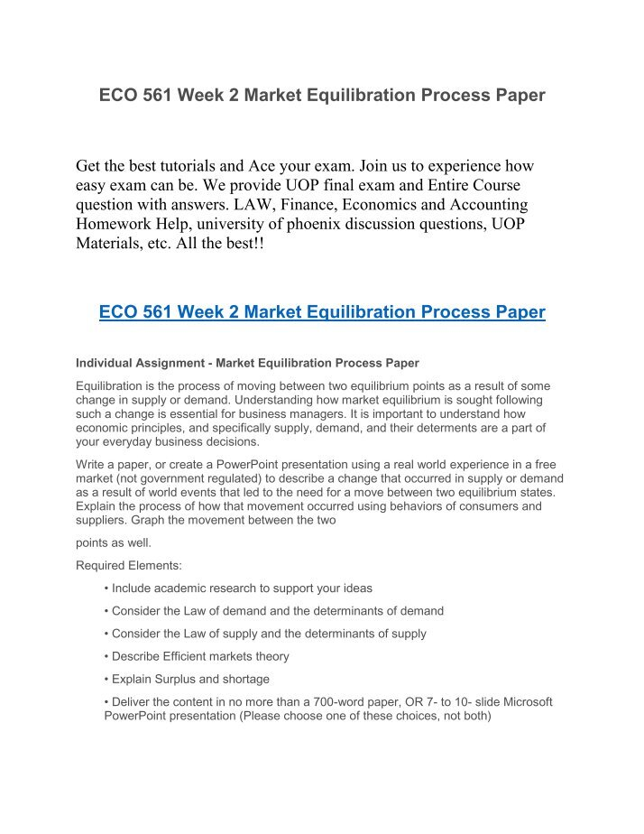 market equilibration process 2 essay Rating: better essays open document essay preview the strategic planning marketing process an organization must use a strategic marketing process to distribute its marketing mix resources to reach its target markets.