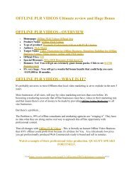 Offline PLR Videos  review and MEGA $38,000 Bonus - 80% Discount