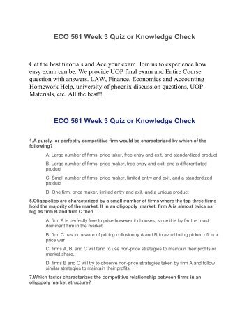 eco 561 week 6 quiz Home essays eco 561 week one knowledge eco 561 week one knowledge check topics: supply and demand eco 372 week 2 knowledge check quiz essay eco/372 week.