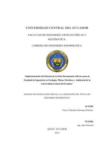 UNIVERSIDAD CENTRAL DEL ECUADOR - Repositorio Digital UCE