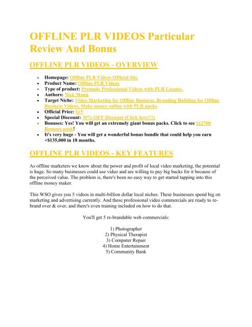 Offline PLR Videos review and (MEGA) bonuses – Offline PLR