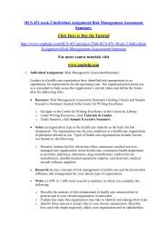 HCS 451 week 2 Individual Assignment Risk Management Assessment Summary/uophelp