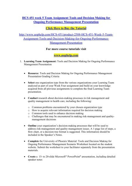 HCS 451 week 5 Team Assignment Tools and Decision Making for Ongoing