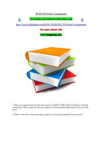BUSN 258 Week 5 Assignment/indigohelp