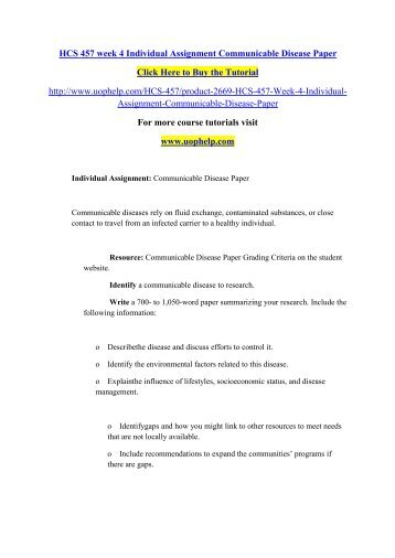 HCS 457 week 4 Individual Assignment Communicable Disease Paper/uophelp