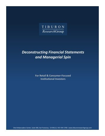 ResearchGroup Deconstructing Financial Statements - Retail Geeks