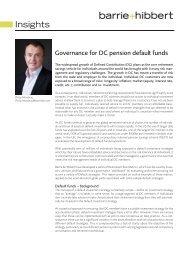 Governance for DC Default Pension Funds - Barrie & Hibbert