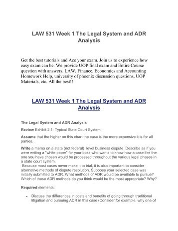 legal system and adr analysis The legal system and adr analysis 1the legal system and adr analysis shane fuller law/531 07/07/20.