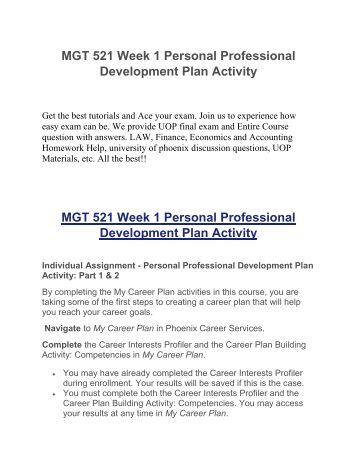 Uop course homework help mgt 521 week 1 personal for 521 plan