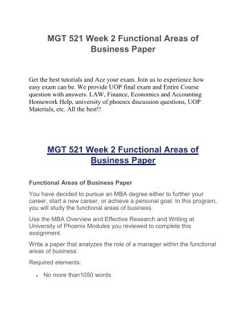 MGT 521 Week 2 Functional Areas of Business Paper