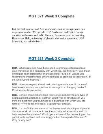 MGT 538 Week 5 Electronic Reserve Reading Summary UOP Assignment Help