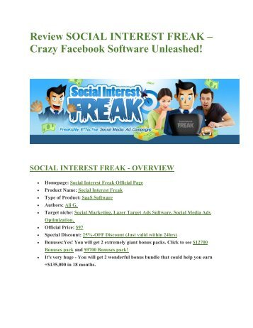 Social Insterest Freak  Review-MEGA $22,400 Bonus & 65% DISCOUNT