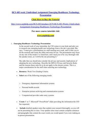 Hcs 483 week 2 emerging health care technology presentation