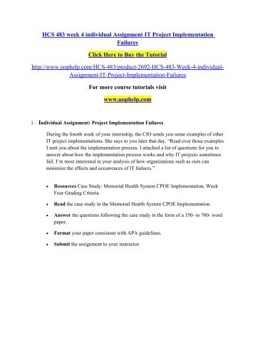 hcs 483 final project health care Free essays on hcs 483 health care information systems terms for students use our papers to help you with yours 1 - 30.