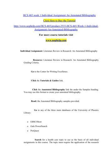 Hcs 465 literature review in research an annotated bibliography
