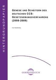 Genese und Scheitern des deutschen CCS - Germanwatch