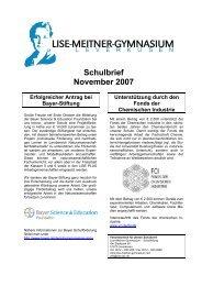 Schulbrief November 2007 - Lise-Meitner-Gymnasium
