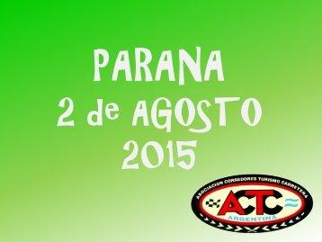SEGUNDO PUESTO PARANA 2 de AGOSTO DE 2015