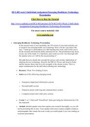 HCS 483 week 2 Individual Assignment Emerging Healthcare Technology Presentation/uophelp