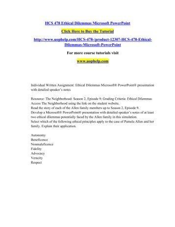 HCS 478 - Health Law and Ethics