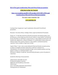 HCS 478 Legal Considerations Microsoft PowerPoint presentation/uophelp