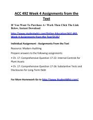 ACC 492 Week 4 Assignments from the Text UOP Complete Class Home work Help