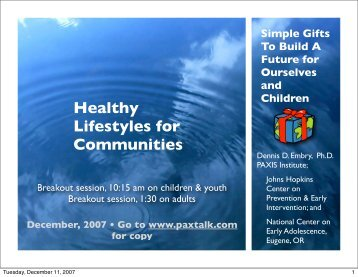 Healthy Lifestyles for Communities - t:www.paxtalk.com