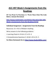 ACC 497 Week 5 Assignments from the Readings UOP Complete Class Home work Help