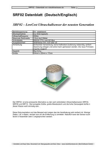 SRF02 - Robotikhardware.de