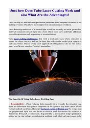 Just how Does Tube Laser Cutting Work and also What Are the Advantages ?