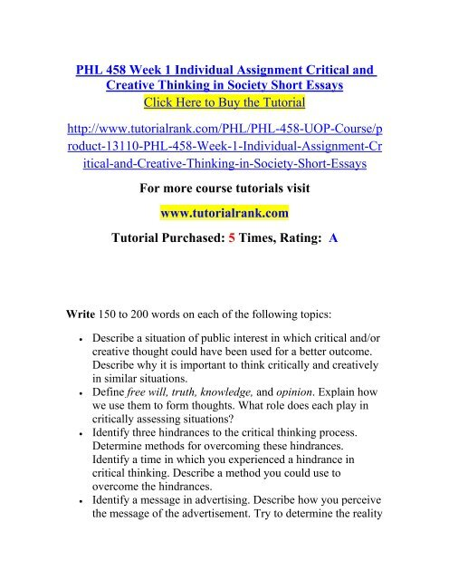 Synthesis Essay Phl  Week  Individual Assignment Critical And Creative Thinking In  Society Short Essaystutorialrank English Model Essays also Columbia Business School Essay Phl  Week  Individual Assignment Critical And Creative Thinking  Healthy Living Essay