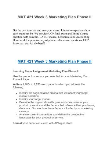 mkt421 marketing plan for amazon essay You are currently developing your marketing plan and strategies this entry was posted in academic essays, business and tagged mkt 421 individual assignment (signature) the entrepreneurial marketing manager.
