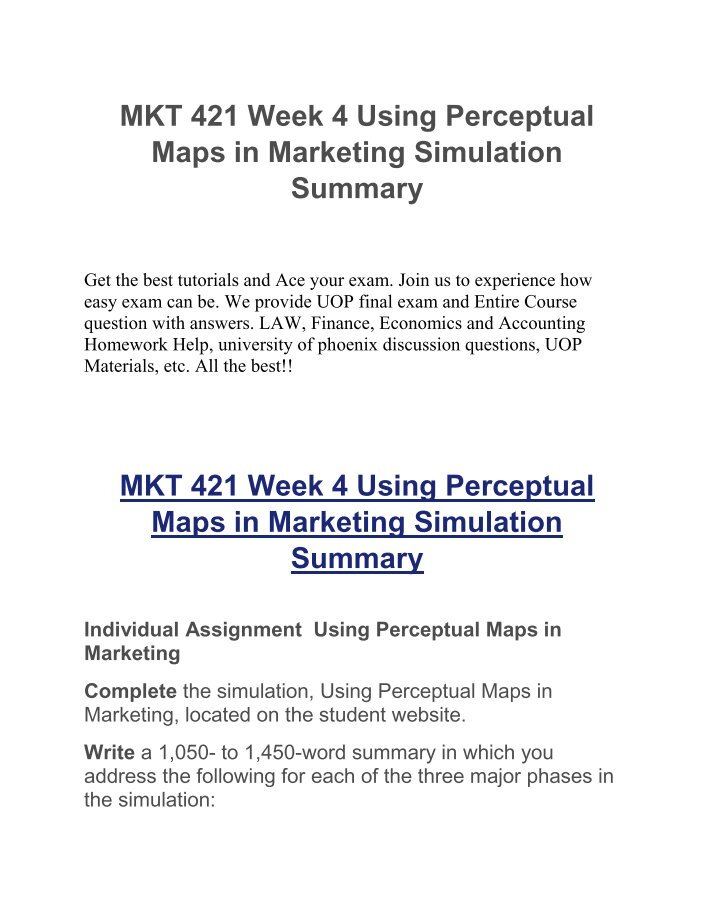 mkt421 week 4 perceptive maps Find mkt - marketing assignment, discussion questions, quiz and final exam for usa students  mkt 421 week 3 assignment, perceptual map ppt  mkt 421 week 5.