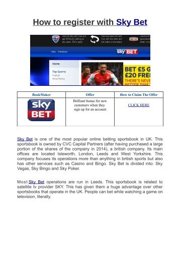 How to register with Sky Bet.