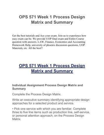 process design matrix ops 571 Process design matrix and summary for services and product companies provides a services or a products with the goal of succeeding and be profitable in order for the company to succeed, a good planning and strategy is necessary to excel.