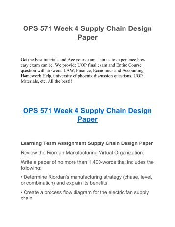 riordan manufacturing supply chain design Riordan manufacturing 1 inside the proposalmaterial requirementsplanning (mrp) proposed process design• demand forecasting• master production schedule (mps) supply chain• bill of materials (bom) with lead time production forecast implementation plan.